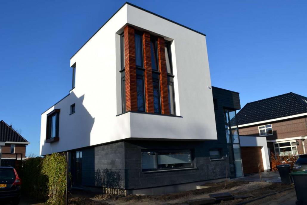 Moderne vrijstaande woning voorzijde for Moderne vrijstaande woning